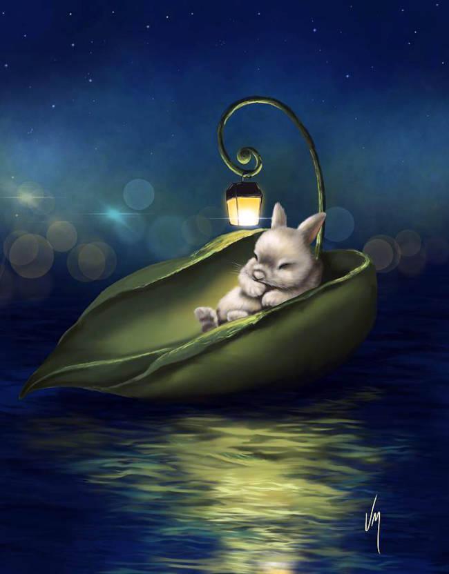 Зайчонок в лодке - картинка