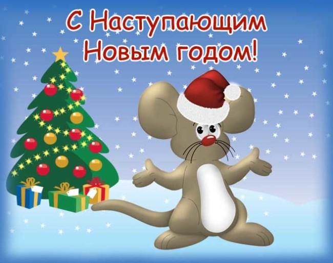 Открытка с Наступающим Новым годом с крысой